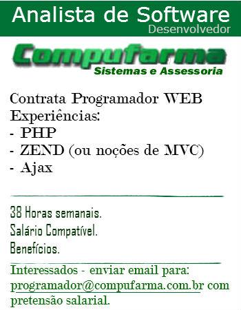 Compufarma contrata Programador PHP
