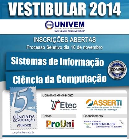 Vestibular Univem 2014 - Ciência da Computação e Sistemas de Informação