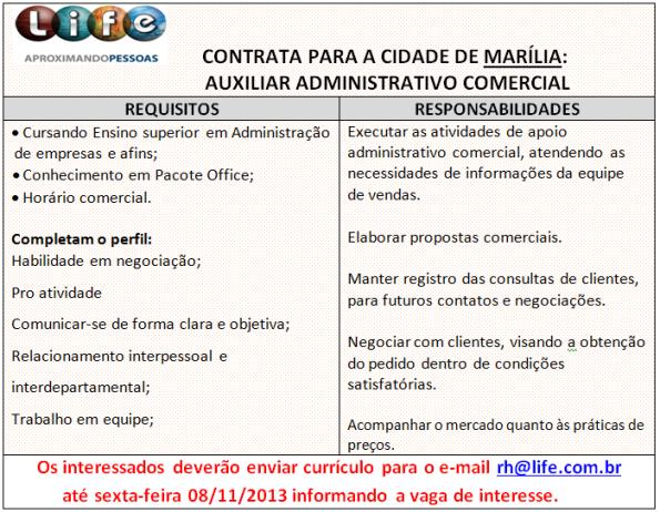 Life contrata auxiliar administrativo e consultor de negócios
