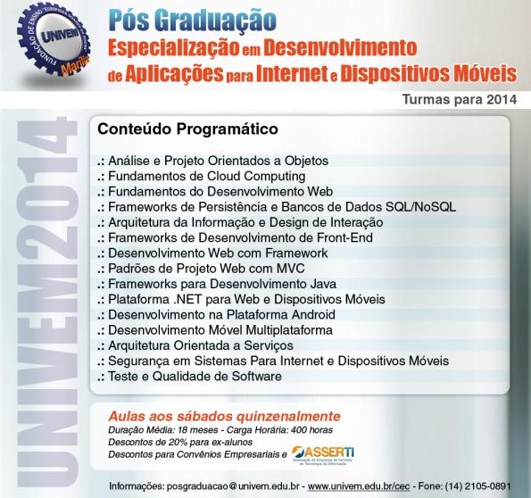Especialização em Desenvolvimento de Aplicações para Internet e Dispositivos Móveis