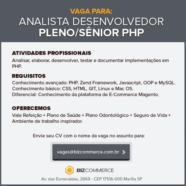 Vaga para Analista/Desenvolvedor Pleno/Sênior PHP