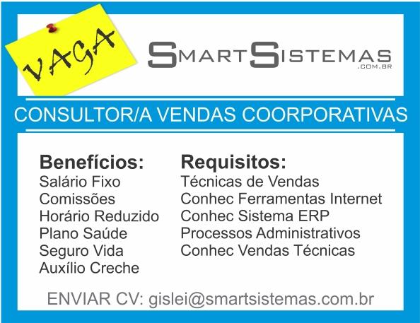 Smart Sistemas abre vaga para Consultor de Vendas Coorporativas