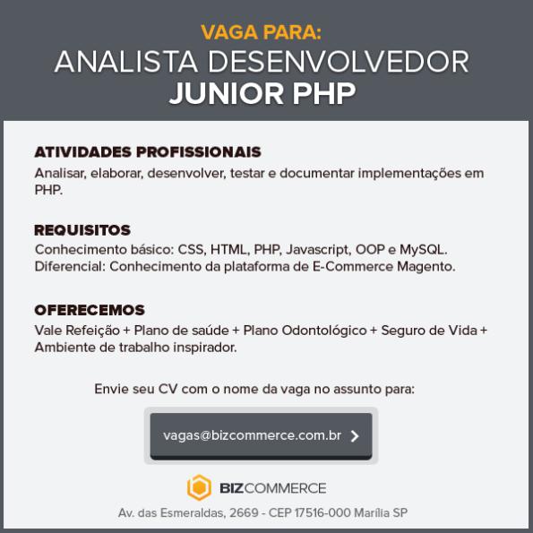 Vaga para Analista/Programador Junior PHP