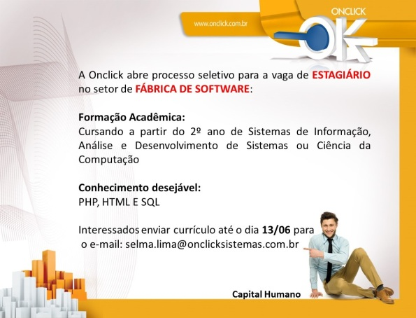Onclick abre vaga de estágio no setor de Fábrica de Software