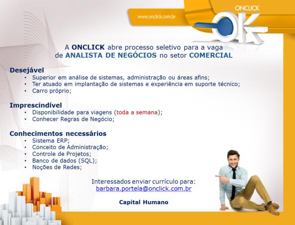 OnClick tem vaga para Analista de Negócios