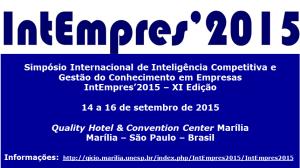 Simpósio Internacional de Inteligência Competitiva e Gestão do Conhecimento em Empresas
