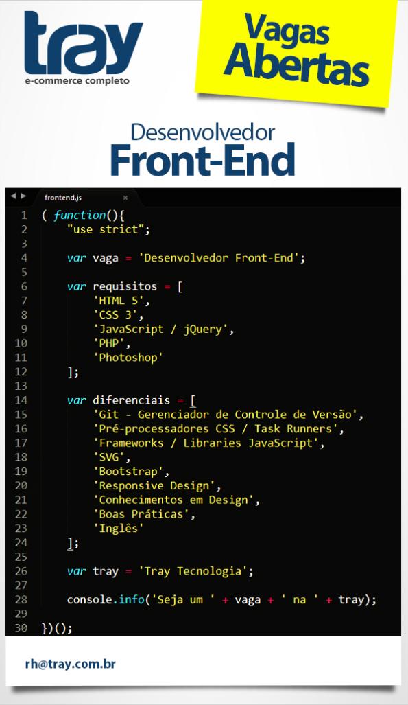 Vaga para desenvolvedor front-end