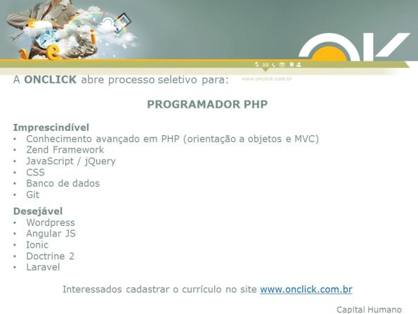 Onclick abre processo seletivo para Programador PHP
