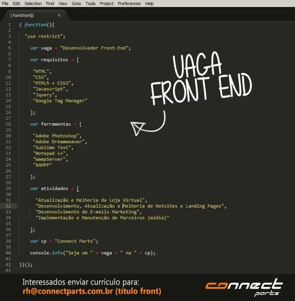 Connect Parts tem vagas para Front End e Web Designer