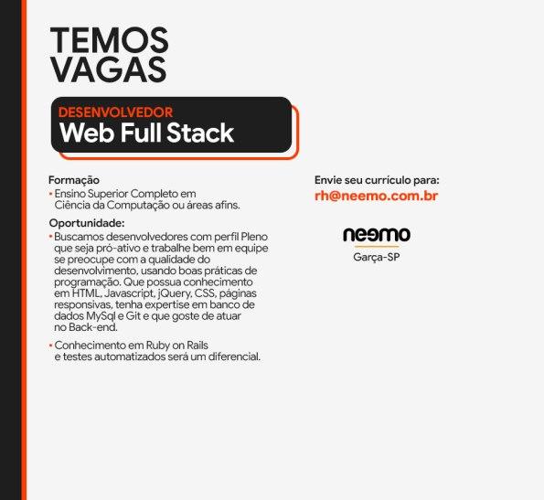 Desenvolvedor Web Full Stack